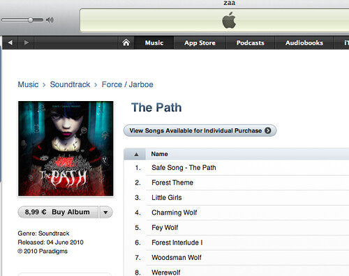 The Path soundtrack is on iTunes! eeeeee
