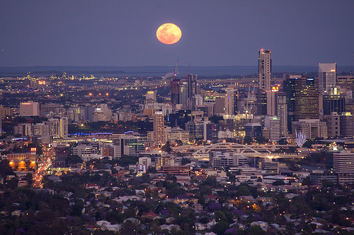 Full moon over Brisbane city - Explored