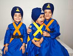 Brand Ambassadors (gurbir singh brar) Tags: blue friends boys kids naughty happy nikon warriors trio sikhs mischievous turban sikh cheerful punjab bana 2010 turbans singh khalsa threeboys nihang nihangs bhujangi chardikala gurbirsinghbrar nihangsinghs