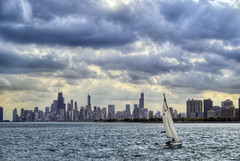 Sail (Mister Joe) Tags: urban chicago water nikon sailing cityscape cloudy sears stormy joe lakemichigan dynamicrange hancock trump hdr willis