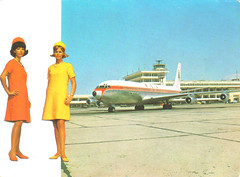 air hostesses (Dan_DC) Tags: vintagepostcard stewardess hostess flightattendant airlines vintage 60s lebanon beirut 707 boeing707 uniform hats orange yellow girls airhostess swish fashion fashionable swanky cool postcard legacy heritage feminine femininity
