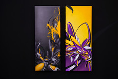 greyyellow/purpleyellow (mrzero) Tags: graffiti hungary acrylic gallery style exhibition canvas spraypaint zero cfs mrzero coloredeffects