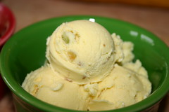 Home made raw milk pistachio ice cream