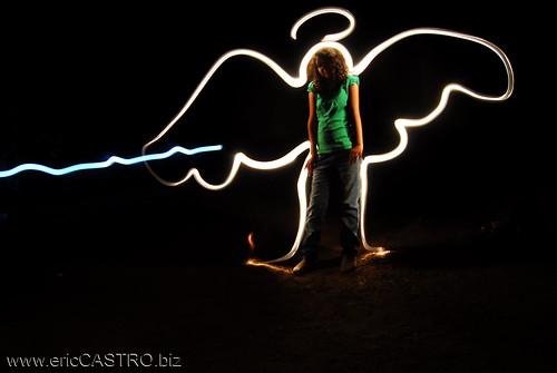 Light drawing angel