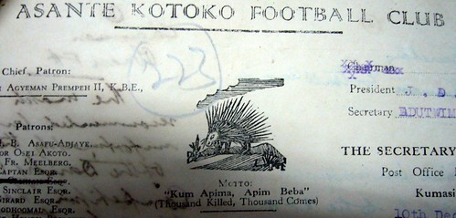 The charter of an early African club in Ghana.