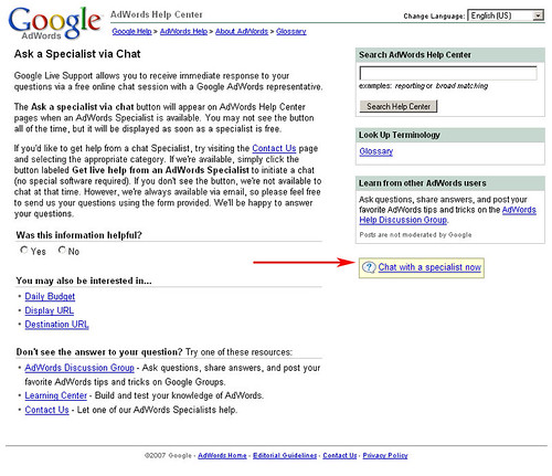 Google AdWords: Chat with a Specialist