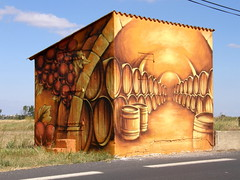 Painted Vigneron's Hut (Annie in Beziers) Tags: art fun artistic barrels painted creative hut vineyards trompeloeil vigneron serignanplage annieinbziers