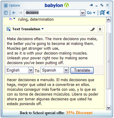 free spanish translation