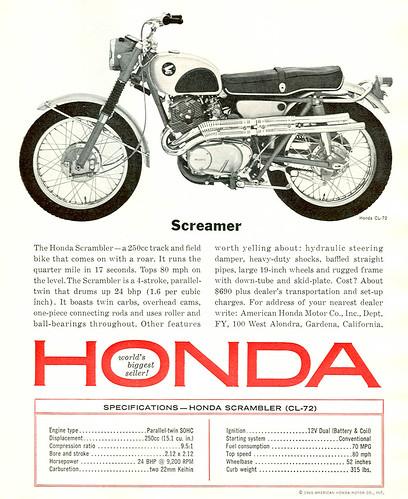 Honda Motorcycles by twm1340. 1965 Honda CL-72 250 Scrambler ad