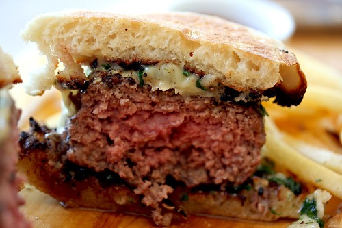 Innards of Grilled Hamburger On English Muffin
