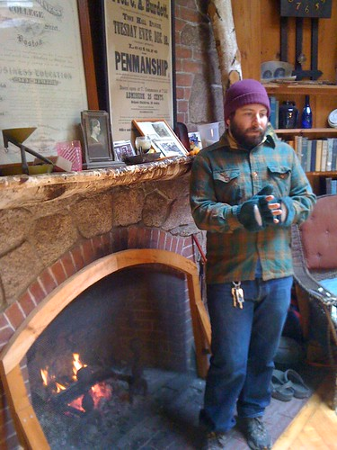 Mike by the fireside in Intervale
