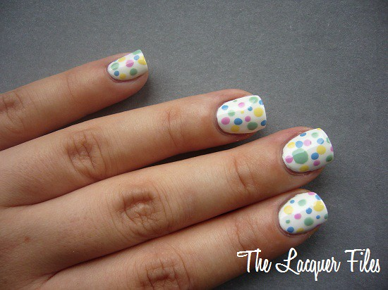 Nail Art Design Dottingtool Dots H&M Love at First Sight Models Own Lilac Dream, Lemon Meringue, Feeling Blue, Slate Green