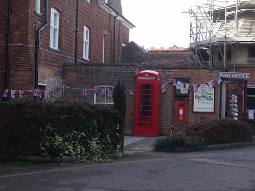 Bletchley Park Post Office - red post box and red phone box