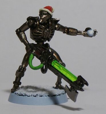 The Second Christmas Themed Necron I Made in 2009, This Time Throwing a Snowball