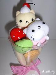 nyanko sundae plush {explored} (iheartkitty) Tags: cats cute japan fruit cherry dessert japanese strawberry plush kawaii kiwi sundae sanx nyanko iheartkitty