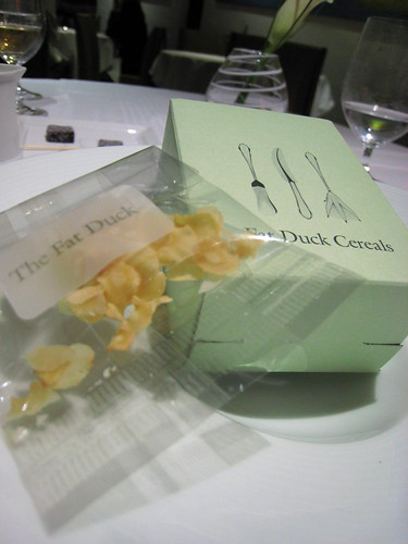 Parsnip cereal in its Fat Duck Cereal box