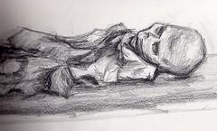 Esbozo del natural de una momia guanche. (iluztracion) Tags: art illustration pencil arte crayon mummy momia ilustracin boceto lpiz guanche grafito esbozo iluztracin