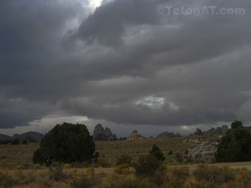 Storm clouds over the City of Rocks