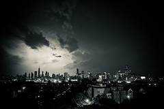 The sky was angry tonight (cshimala) Tags: light chicago storm skyline night clouds buildings dark skyscrapers flash angry highrise lightning burst storms johnhancock willistower