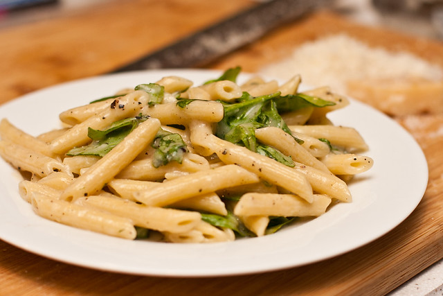 Penne with Parmesan, Pepper, and Peppery Greens