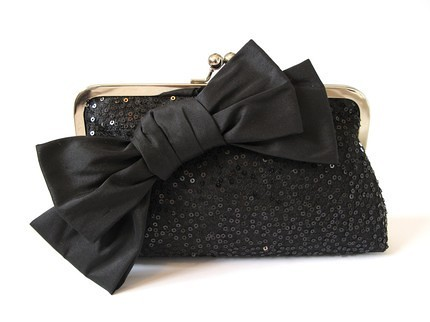 wedzu_black silk and sequins with sil bow brooch mollie clutch_percy handmade