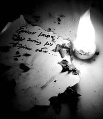 Remnants of a poem (milt-9) Tags: light bw paper fire bravo poem greece remnants blueribbonwinner kavafis abigfave artlibre merhb aplusphoto wowiekazowie milt9