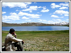 Contemplating (Shadan Khattak) Tags: life blue pakistan lake colour beauty northernareas shadan deosai skardu sheosarlake shadankhattak