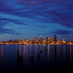 Seattle from Alki (David M Hogan) Tags: seattle sunset night washington cityscape alki spaceneedle pilings davidhogan