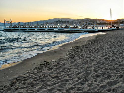 Cannes - sunset on the beach