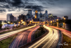Downtown Minneapolis from I-35W (Greg Benz Photography) Tags: bridge sunset motion minnesota night photoshop photography lights benz nikon highway traffic trails minneapolis freeway twincities mn hdr highdynamicrange longshutter photomatix minneapolisskyline i35w minneapolissunset dragshutter photoshophdr sunsethdr twincitiessunset skylinehdr cityscapehdr carbonsilver gregbenz gbenz photosofminneapolis twincitiesskyline minneapolishdr minneapolisi35w minneapolisfreeway minneapolishighway