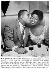 Joe Louis Kisses Sarah Vaughan On Her 27th Birthday - Jet Mag, Apr 10, 1952 (vieilles_annonces) Tags: birthday old people usa newyork black history vintage magazine print scans kiss fifties photos african negro jazz blues retro ephemera nostalgia photographs american rights 1950s singer boxer blacks americana colored 50s boxing magazines folks oldphotos blackhistory 1952 vintagephotos birdland africanamericanhistory earthakitt dinahwashington joelouis peopleofcolor vintagephotographs sarahvaughan ruthbrown vintagemagazine coloredpeople errollgarner negrohistory denisedarcel coloredfolk blackmagazines blacknews