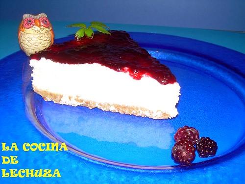 Tarta queso pl.azul porcion mermelada