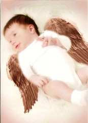 Marissa Angel (twisted_pixie25) Tags: family portrait blackandwhite baby color beautiful angel photomanipulation fun magic thinking mysterious