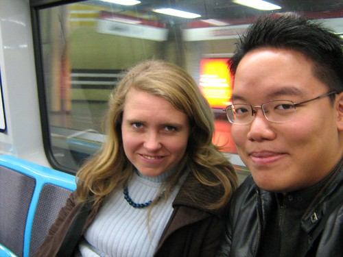 Marina and I in a commuter train to Neruda's house
