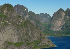 Mountain Face (joepvanwyk) Tags: travel summer mountain norway island fishing tour village hiking north climbing fjord lofoten reine reinebringen
