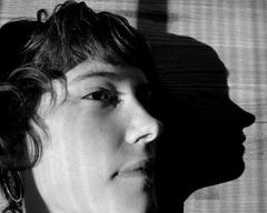 me and the shadow of my replicant (Luna Park) Tags: nyc shadow bw woman sunlight selfportrait me kitchen brooklyn floor profile luna blinds lunapark