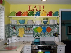 New Eat Sign 001 (supershoppertoo) Tags: ikea sign colorful bright eat fiestaware kitcen mosaictilebacksplash diskpitcher adelwhite jarpen shelvesopenshelving downdraftstove