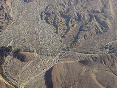 Above the San Andreas fault and Thousand Palms Oasis, Indio Hills, Riverside County, California (cocoi_m) Tags: california desert sanandreasfault coachellavalley fault sanandreas aerialphotograph coachellavalleypreserve riversidecounty thousandpalms indiohills missioncreekfault thousandpalmsoasis vegetationlineament