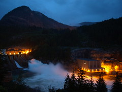 Brilliant Dam Spring Freshet at Night (urbanworkbench) Tags: water night river lights energy glow power dam hydro generation brilliant hydroelectric spillway castlegar kootenayriver brilliantdam kotenays