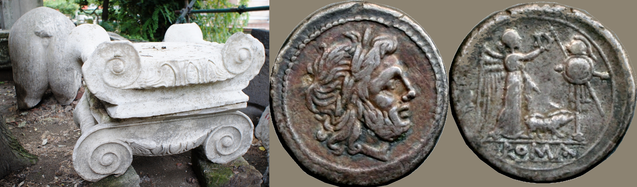 121/1 coin of 210BC with Jupiter, Victory, Trophy and Pig. beside Ionic capitals and a Pig's rear-end, discarded marble fragments at Puteoli amphitheatre