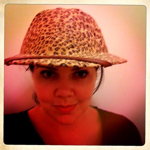 Leopard print pith helmet