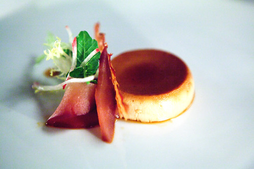 Chicken liver crème caramel with Niman Ranch bacon, microgreens and plum