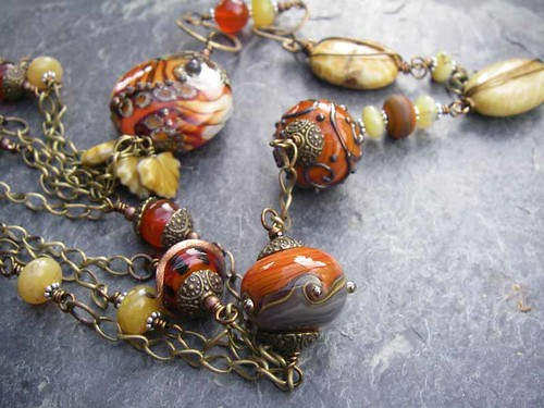 Fire on the Mountain Lampwork and Gemstone Multi-Strand Necklace