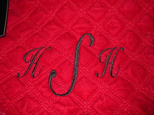 detail monogramed bag