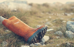 Lost a boot? (Ivar Simonsen) Tags: sea orange cold art beach water grass photoshop found lost typography boot fishing stones olympus shore ivar typo find e30 exclusion simonsen