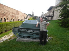 Bruce Sterling and the world's cutest tanklet, Belgrade, Serbia (gruntzooki) Tags: tank serbia belgrade brucesterling