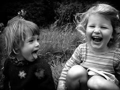 Orla & Rosie (Mayastar) Tags: people bw smile children scotland funny laugh trossachs littlegirls bimbe happychildren mayastar