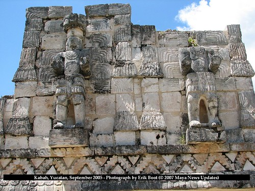 Kabah, Yucatan, Mexico - Upper Facade Life Size Warriors, Back of Codz Pop