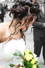 Runaway Bride (wtl photography) Tags: wedding roses bw color beautiful yellow hair bride hairdo style curls selection bouquet delicate matrimonio sposa updo blueribbonwinner wtl p1f1 aplusphoto