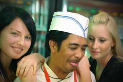 I am surrounded by two chicks! yakkkk! (sasha tamarin) Tags: asian fastfood waitress asianfood spontaneous volfson sosage